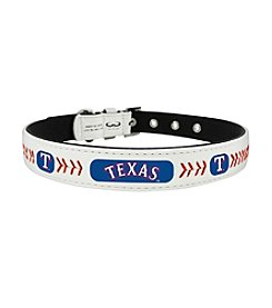 MLB® Texas Rangers Classic Leather Baseball Pet Collar