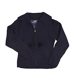 French Toast® Girls' 4-20 Pom-Pom Zip-Up Sweater