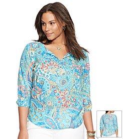 Lauren Ralph Lauren® Plus Size Paisley Voile Peasant Top
