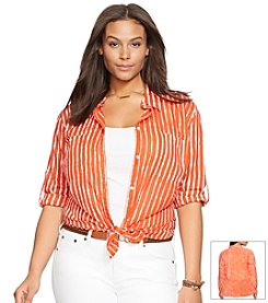 Lauren Ralph Lauren® Plus Size Striped Voile Workshirt