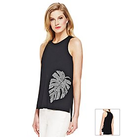 Vince Camuto® Sleeveless Palm Leaf Print Top