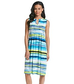 Jones New York Sport® Petites' Stripe Pleat Neck Dress