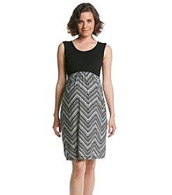 Three Seasons Maternity™ Solid Tank Chevron Print Dress