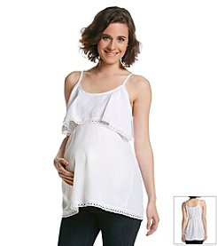 Three Seasons Maternity™ Slip Strap Ruffle Tier Top