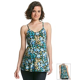 Three Seasons Maternity™ Slip Strap Floral Print Ruffle Bottom Knit Top