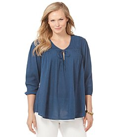 Chaps® Plus Size Gauze Boho Top