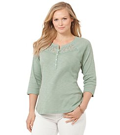 Chaps® Plus Size Lace-Trimmed Cotton Shirt