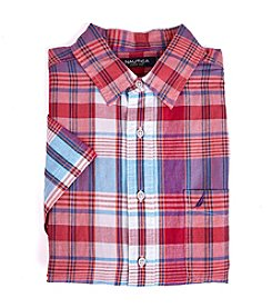 Nautica® Men's Short Sleeve Plaid Button Down