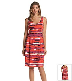 Anne Klein® Printed Sateen Fit And Flare Dress
