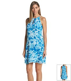 Calvin Klein Halter Printed Chiffon Dress