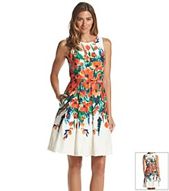 Eliza J® Belted Floral Fit And Flare Dress