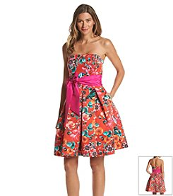 Eliza J® Strapless Floral Fit And Flare Dress