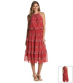 Taylor Dresses Tiered Chiffon Dress