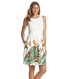 Ivanka Trump® Palm Print Scuba Dress