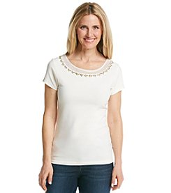 Ruby Rd.® Au Natural Solid Embellished Mesh Knit Top