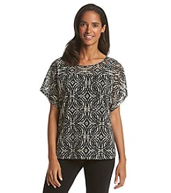 Notations® Abstract Print Burnout Layered Look Top