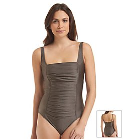 Calvin Klein Solid Pleated One Piece