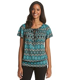 AGB® Tie Front Peasant Top