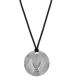 The Sak® Silvertone Large Etched Disc Pendant Necklace