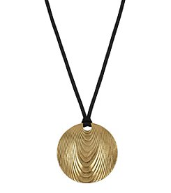 The Sak® Goldtone Large Etched Disc Pendant Necklace