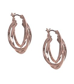 Anne Klein® Rose Goldtone Hoop Earrings