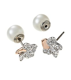 Swarovski® Two Tone Cute Flower Pierced Earrings