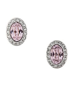 Swarovski® Silvertone Christie Oval Pierced Earrings
