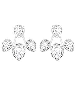 Swarovski® Silvertone Christie Drop Jacket Pierced Earrings