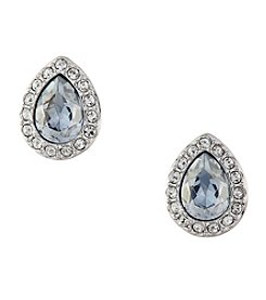 Swarovski® Silvertone Christie Pear Pierced Earrings