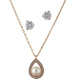 Swarovski® Rose Goldtone Pendant Necklace And Earrings Set
