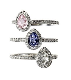 Swarovski® Silvertone Christie Ring Set