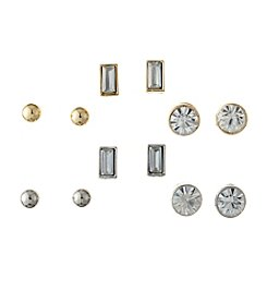 GUESS Two Tone Set Of 6 Stud Earrings