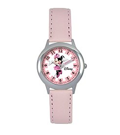 Disney® Minnie Mouse Girls' Stainless Steel Pink Time Teacher Watch
