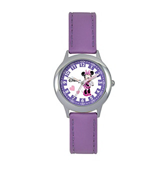 Disney® Minnie Mouse Girls' Stainless Steel Purple Time Teacher Watch