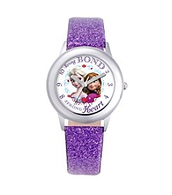 Disney® Anna, Snow Queen Elsa Girls' Stainless Steel Purple Tween Watch