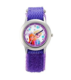 Disney® Anna & Elsa Girls' Stainless Steel Purple Watch