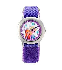 Disney® Anna & Elsa Girls' Stainless Steel Purple Watch