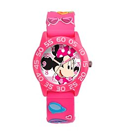 Disney® Minnie Mouse Girls' 3D Plastic Pink Watch