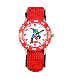 Marvel® Boys' Captain America Red Time Teacher Watch