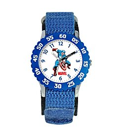 Marvel® Boys' Captain America Blue Time Teacher Watch