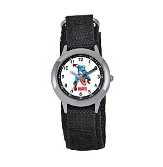 Marvel® Boys' Captain America® Black Time Teacher Watch
