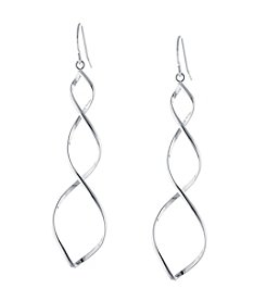 Athra Silver-Plated Spiral Drop Earrings