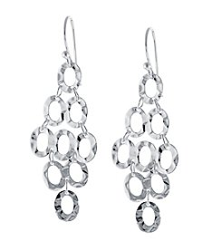 Athra Silver-Plated Hammered Oval Drop Cluster Earrings