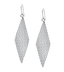 Athra Silver-Plated Netted Kite Shape Drop Earrings