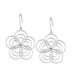 Athra Silver-Plated Flower Drop Earrings
