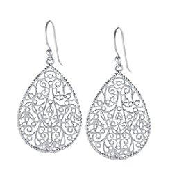 Athra Silver-Plated Filigree Teardrop Earrings