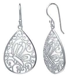 Athra Silver-Plated Filigree Teardrop Earrings