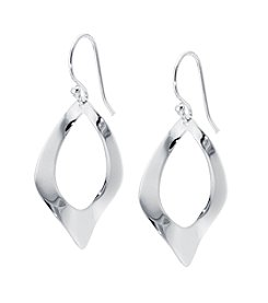 Athra Silver-Plated Twisted Marquise Drop Earrings