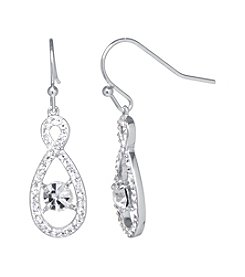 Athra Silver-Plated Infinity Crystal Drop Earrings