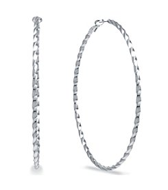 Athra Silver-Plated Spiral Clutchless Hoops